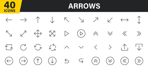 Wall Mural - Set of 40 Arrows web icons in line style. Arrow, arrows. Vector illustration.
