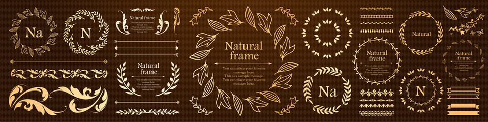 Fototapeta 植物モチーフのフレーム&リボンセット obraz