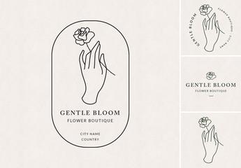 Delicate Hand and Flower Logo Set