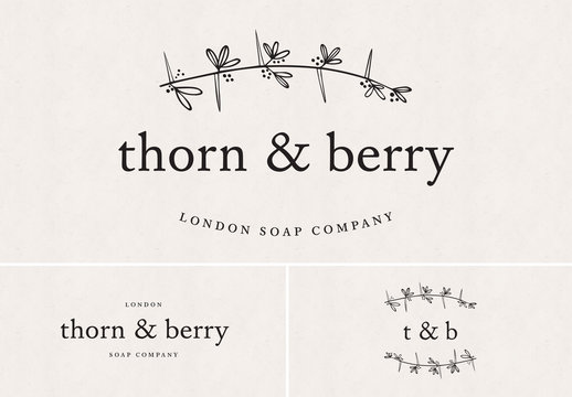 Logo Set with Thorny Branch and Berry Illustrations