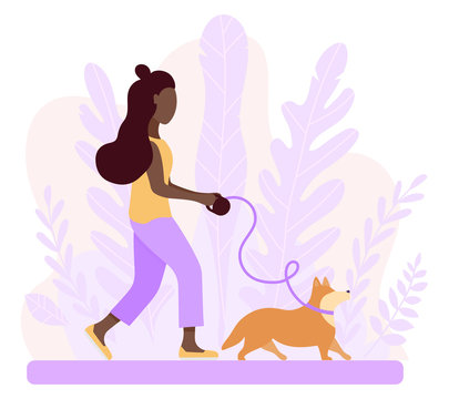 Happy african-american woman walking with dog corgi. Spring illustration romantic mood. Illustration of articles for pet owner, pet stores, dogsitter.Graphics in flat style. Vector abstract background