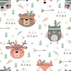 Style bohème imprimé mignon. Modèle sans couture avec de mignons petits animaux. illustration vectorielle. Impression vectorielle avec des animaux