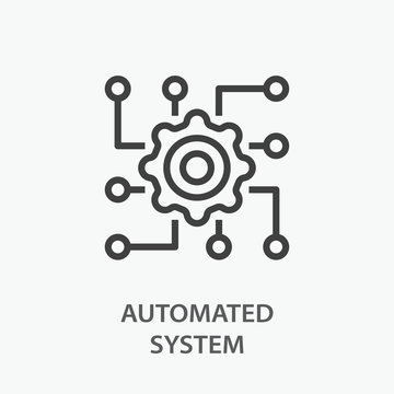 Automated system line icon on white background.