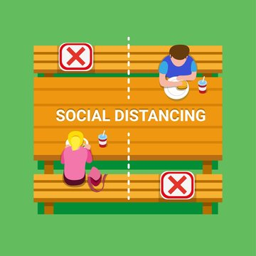 Social distancing guidance people keeping distance in foodcourt table, school canteen or public park to protection from virus infection disease in cartoon flat illustration vector