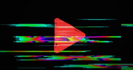 Modern glitch transition with play symbol