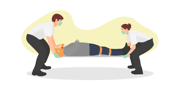 Medical team staff wearing surgical mask and gloves carrying a patient. Paramedics support. Coronavirus outbreak evacuation. Medics rescuing man. Heart attack concept - Flat vector illustration.