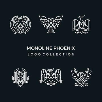 Mono line phoenix logo collection