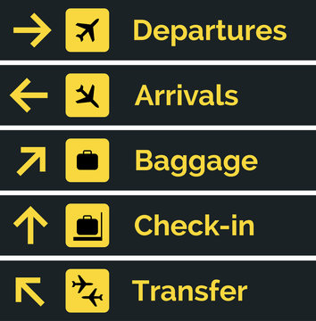 Airport sign departure arrival travel icon. Vector airport board airline sign, gate flight information