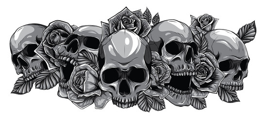 Monochromatic human skulls with roses on white background