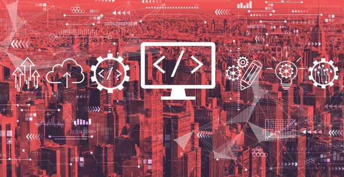 Web development concept with the New York City skyline