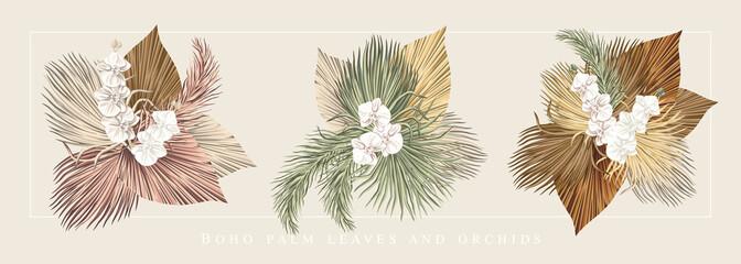 Boho bouquet dried palm leaves orchid flower illustration. Tropical jungle floral vector composition.