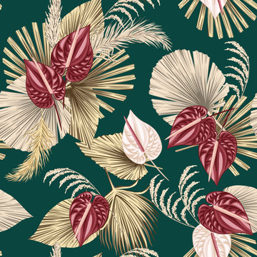 Tropical floral boho dried palm leaves, anthurium flower seamless pattern green background. Exotic jungle wallpaper.