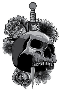 Vector illustration human death skull broken sword with roses