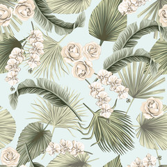 Tropical floral boho dried palm leaves, orchid, rose flower seamless pattern blue background. Exotic jungle wallpaper.