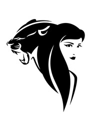 beautiful woman with long hair and roaring panther cat head - black and white vector portrait