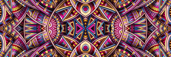 Fototapeta Abstract ethnic rug ornamental seamless pattern. Vector vintage background. obraz