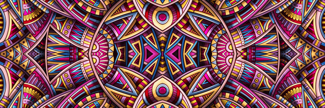 Abstract ethnic rug ornamental seamless pattern. Vector vintage background.