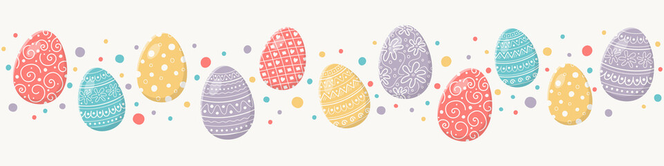 Colourful Easter concept with decorative eggs. Banner. Vector