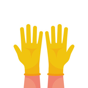 Hands putting on protective yellow gloves. Latex gloves as a symbol of protection against viruses and bacteria. Precaution icon. Vector illustration flat design. Isolated on white background.