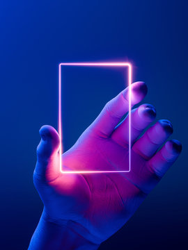 Hand Holding Vertical Neon Frame. Hand Illuminated by Pink, Violet and Blue Neon Lights. 3d rendering