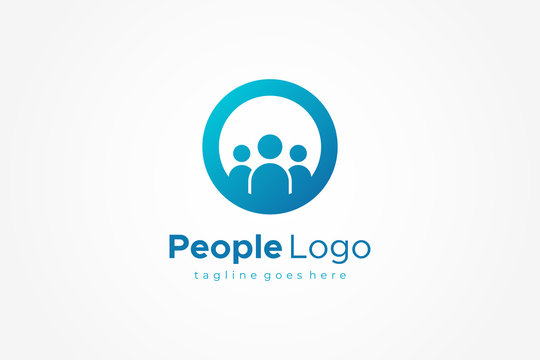 Blue Circle with Human Icon inside People Logo. Flat Vector Logo Design Template Element