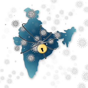 India lockdown due to Covid 19 or coronavirus outbreak shoing with virus and Indian Map as background.