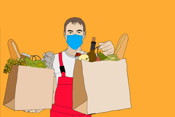 Delivery of goods during the prevention of coronovirus, Covid-19. Courier in a face mask with a box in his hands. Portrait from the waist up. flat illustration.