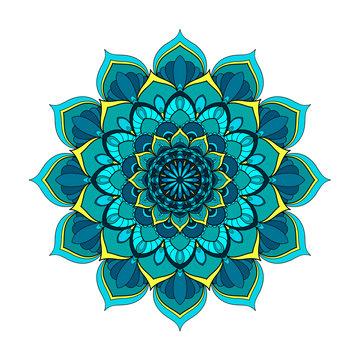 Blue and turquoise round mandala isolated on white background. Vector illustration