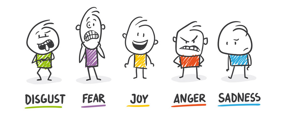 Strichfiguren / Strichmännchen: Disgust, Fear, Joy, Anger, Sadness. (Nr. 458)