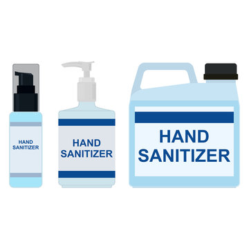 Hand sanitizer, set. Bottle with spray, bottle with dispenser, plastic canister. Vector illustration.