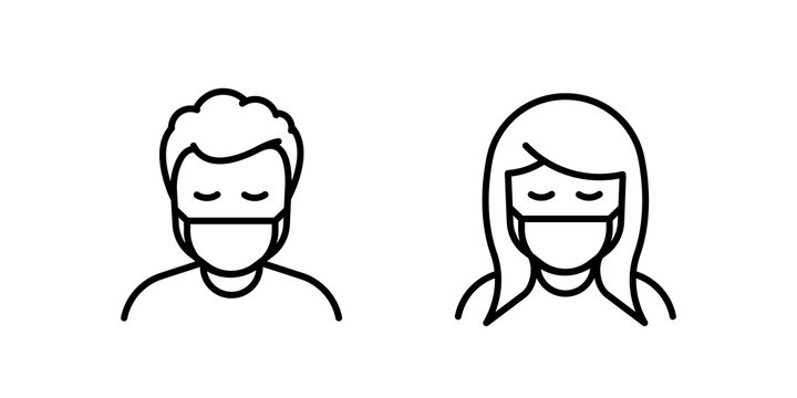 Man and Woman in medical face protection mask. Vector icon of depressed and tired people wearing protective surgical mask. For concepts of disease, sickness, coronavirus, quarantine, social distancing