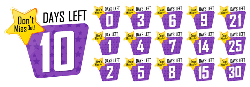 Set countdown tags, number days left banners design template, vector illustration