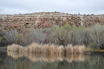 Partially cloudy skies over one of the lagoons at Dead Horse Ranch State Park in Cottonwood, Arizona.