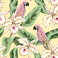 Tuinposter Abstract bloemen Parrots, green banana palm leaves, orchid flowers, yellow background. Vector floral seamless pattern. Tropical illustration. Exotic plants, birds. Summer beach design. Paradise nature