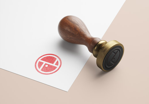 Wooden-Handled Rubber Stamp and Stationery Mockup
