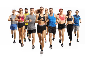Many young and older people running in sportswear