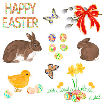 Happy Easter decoration chick  butterfly and rabbits  easter eggs and daffodils  on green grass, pussy willov and bow. Seasonal Holidays in April set watercolor vintage  vector illustration