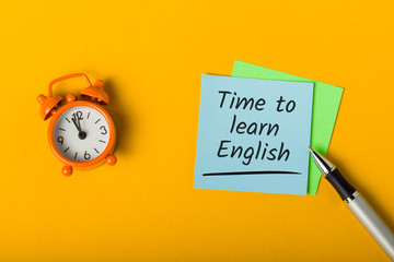 Time to Learn English online - message with advice. Education and self-development at quarantine time