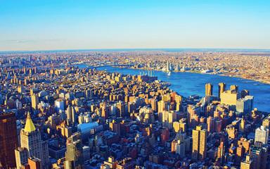 Fotobehang New York Aerial view on Manhattan and Brooklyn reflex