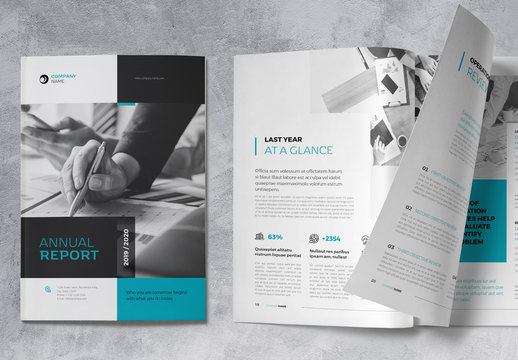 Annual Report Brochure Layout with Blue and Gray Accents