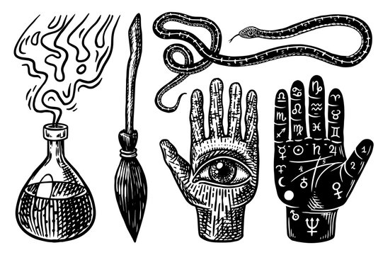 Mystical magic boho elements. Witchcraft astrological set. Esoteric alchemy occult sketch for tattoo or T-shirts. Palmistry Snake Broom Elixir Potion Divination. Drawn Engraved vector illustration.