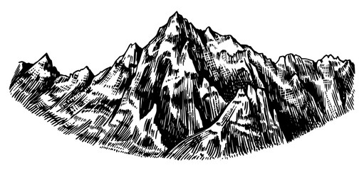 Alps Mountains. Chamonix-Mont-Blanc peaks. Vintage rock, old highlands range. Hand drawn vector outdoor sketch in engraved style. Hiking card, climbing banner, tattoo or label. Wall mural
