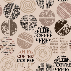 Coffee. Abstract coffee pattern with lettring. Seamless vector pattern.