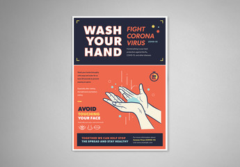 Orange and Blue Handwashing and Coronavirus Informational Flyer Layout