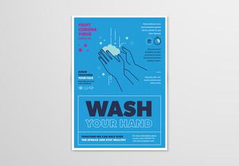 Blue Handwashing and Coronavirus Informational Flyer Layout