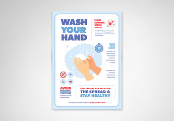 Blue and White Handwashing and Coronavirus Informational Flyer Layout