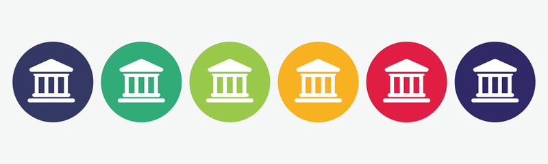 6 circles set with bank icon in various colors. Vector illustration.