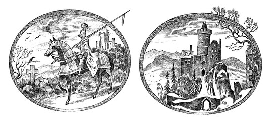 Medieval knight and castle. Antique chateau and cavalier on horseback. Ancient rider. Template for label or badge. Hand drawn engraved monochrome vintage sketch.