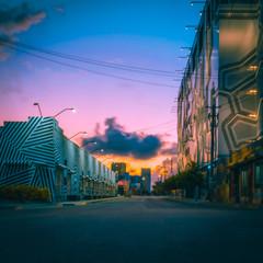 dawn city night street wynwood miami florida urban architecture lighting horizone clouds downtown building sunset blue dusk sky town
