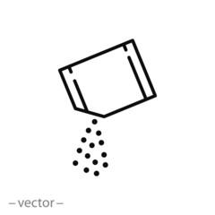 packet soluble powder icon, open paper sachet, soluble medication, thin line web symbol on white background - editable stroke vector illustration eps10